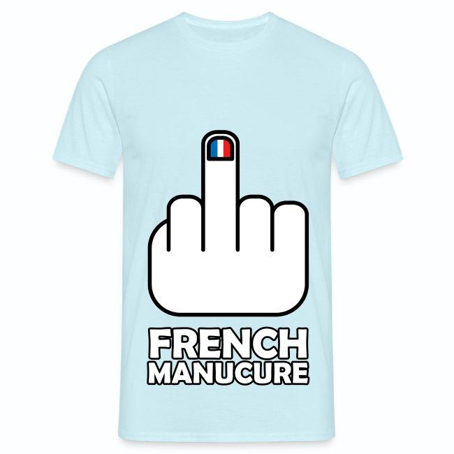 5c0d2d68e247 T shirt bleu ciel pour hommes French Manucure Humour français