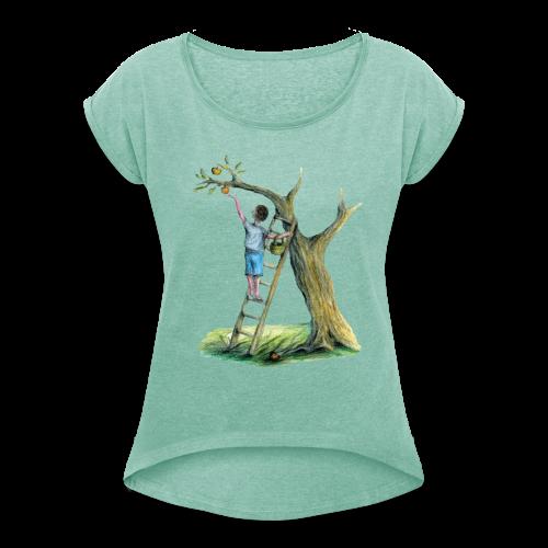 Apfelbaum - Frauen T-Shirt mit gerollten Ärmeln