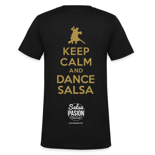 Keep calm and dance Salsa (Or paillette) - T-shirt bio col V Stanley & Stella Homme