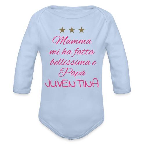 Fragolina, la juventina di papà - Body ecologico per neonato a manica lunga