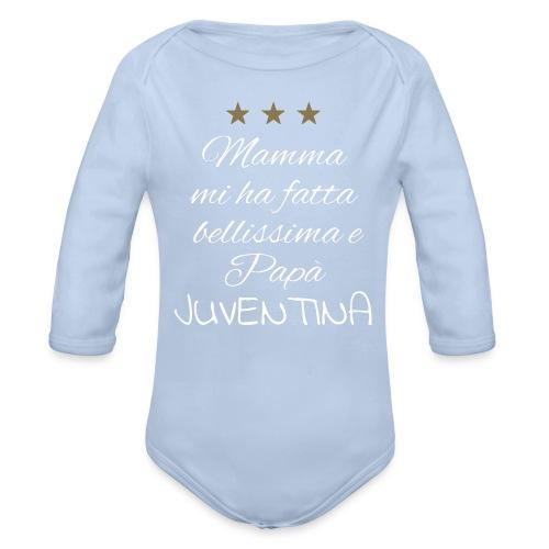 Fragolina, la juventina di papà - frase bianca - Body ecologico per neonato a manica lunga