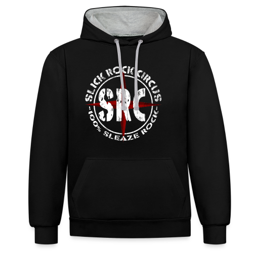Men Hoodie - Slick Rock Circus Evil Clown and Vintage Logo - Kontrast-Hoodie