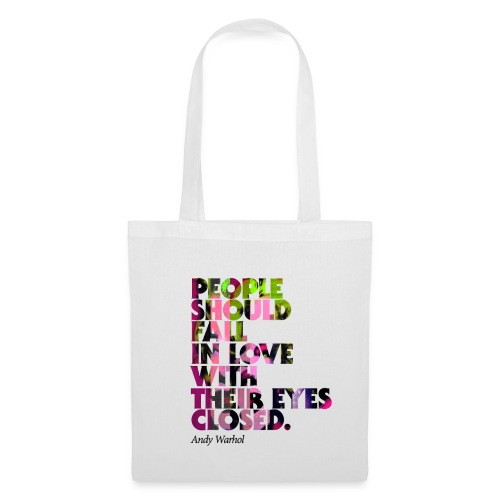 Shopping Bag, graphical Pop-Art, Warhol-Style Fall In Love, Baumwolle, weiss - Stoffbeutel
