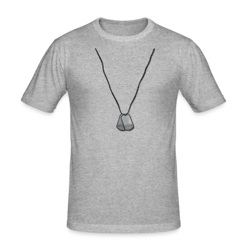 Premium T-Shirt mit Aufdruck Dog Tags:Butch, please!, grau, kurzarm, Baumwolle - Männer Slim Fit T-Shirt