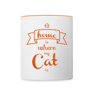 Tasse Home is where my cat is - Tasse zweifarbig