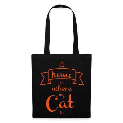 Stofftasche Home is where my cat is - Stoffbeutel
