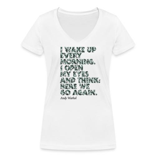 Damen kurzarm T-Shirt, V-Ausschnitt, slim-fit, weiss, graphical Pop-Art, Warhol-Style Here We Go Again, camouflage, Baumwolle - Frauen Bio-T-Shirt mit V-Ausschnitt von Stanley & Stella