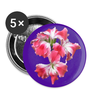 Buttons groß 56 mm - Design Pelargonium lila-pink by Amahy - Buttons groß 56 mm