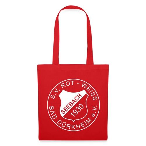 Stofftasche rot Logo beidseitig weiß - Stoffbeutel