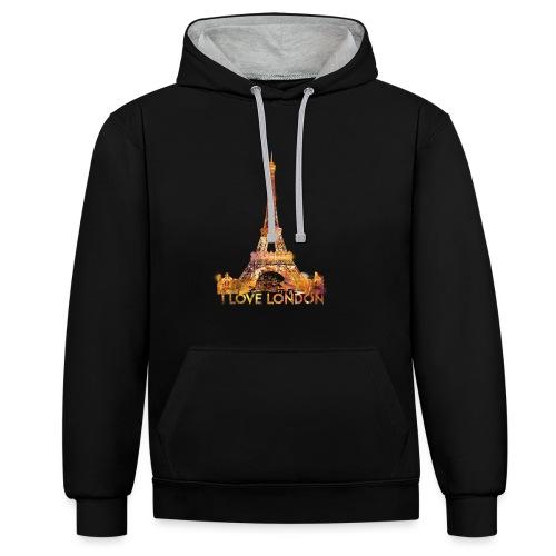 I love London 2 unisex contrast hoodie - Contrast hoodie