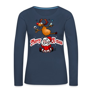 Merry X-mas from Santa Claus and his reindeer - Women's Premium Longsleeve Shirt