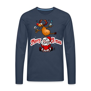 Merry X-mas from Santa Claus and his reindeer - Men's Premium Longsleeve Shirt