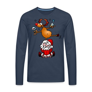 Reindeer is having a drink on Santa - Men's Premium Longsleeve Shirt