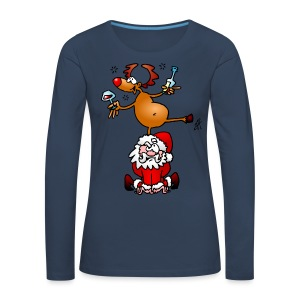 Reindeer is having a drink on Santa - Women's Premium Longsleeve Shirt