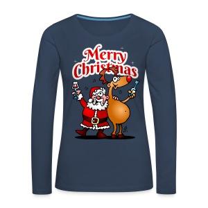 Merry Christmas - Santa Claus and his Reindeer - Women's Premium Longsleeve Shirt