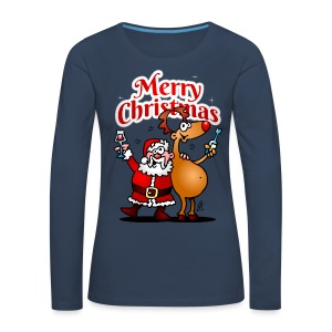 Merry Christmas - Santa Claus and his Reindeer - Women's Premium Longsleeve Shirt