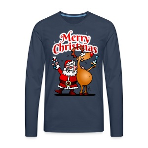 Merry Christmas - Santa Claus and his Reindeer - Men's Premium Longsleeve Shirt