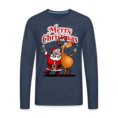 Merry Christmas - Santa Claus and his Reindeer - Men's Premium Longsleeve Shirt