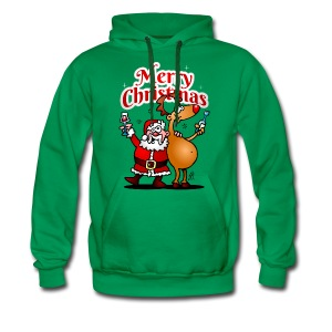 Merry Christmas - Santa Claus and his Reindeer - Men's Premium Hoodie