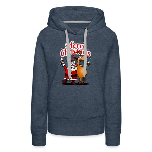 Merry Christmas - Santa Claus and his Reindeer - Women's Premium Hoodie