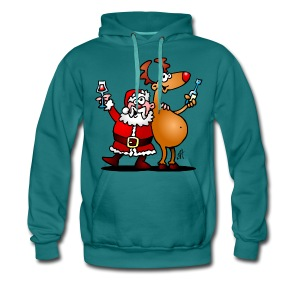 Santa Claus and his Reindeer - Men's Premium Hoodie