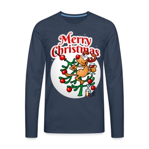 Reindeer in a Christmas tree - Merry Christmas - Men's Premium Longsleeve Shirt