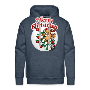 Reindeer in a Christmas tree - Merry Christmas - Men's Premium Hoodie