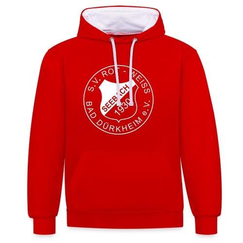 Kontrast-Kapuzenpullover rot/weiß Logo weiß - Kontrast-Hoodie