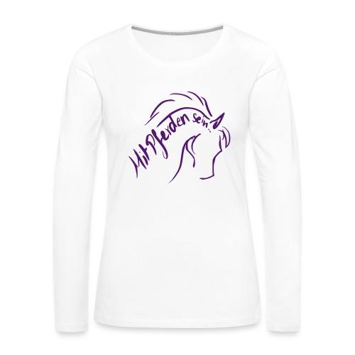 Proud Horse, Back: Personalisierbar,Woman Longsleeve ( Print Digital Violet) - Frauen Premium Langarmshirt