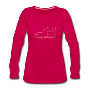 Being with horses Schriftzug, Woman Longsleeve ( Print Digital Sand) - Frauen Premium Langarmshirt