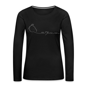 Front & Backprint:  LOGO & MPS Rider, Woman Longsleeve ( Print Digital Grey  ) - Frauen Premium Langarmshirt