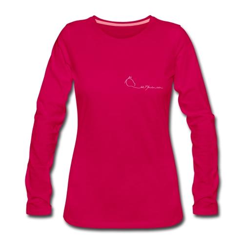 Small  LOGO Schriftzug  Woman Longsleeve ( Print Digital White) - Frauen Premium Langarmshirt