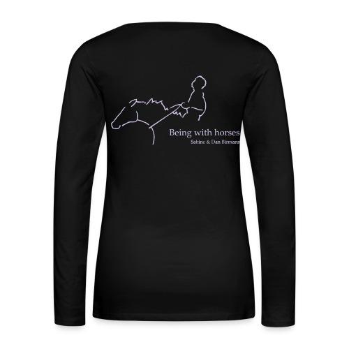 Front:Small LOGO Schriftzug, Backprint MPS Rider,  Woman Longsleeve ( Print Digital White, Lavendel) - Frauen Premium Langarmshirt