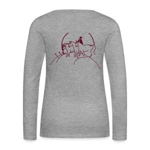 Front: LOGO Schriftzug, Backprint: Cover,  Woman Longsleeve ( Print Burgund)l) - Frauen Premium Langarmshirt
