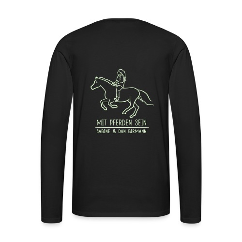 Small LOGO Schriftzug, Backprint: Galloping horse, Men Longsleeve ( Print: Digital White, White Glowing In The Dark) - Männer Premium Langarmshirt