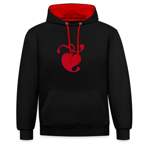 Unisex Hoodie (Heart / Black & Red) - Contrast Colour Hoodie