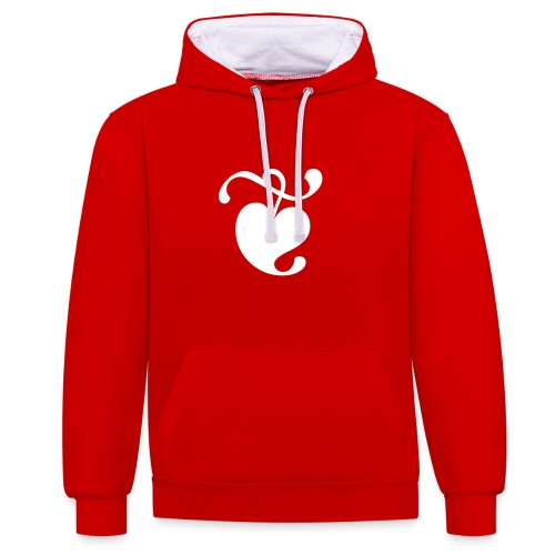 Unisex Hoodie (Heart / Red & White) - Contrast Colour Hoodie
