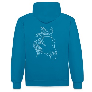 Front: LOGO Schriftzug small, DreamHorse , Men Kontrast Hoody ( Print: Digital Light Blue, Lightblue) - Kontrast-Hoodie