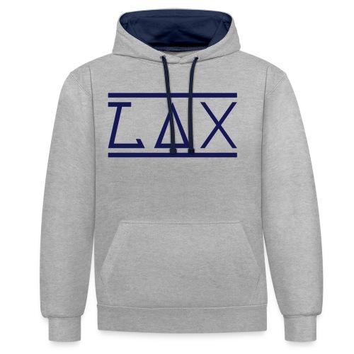 LAX LOGO Hoody, men - Grey/Navy - Kontrast-Hoodie
