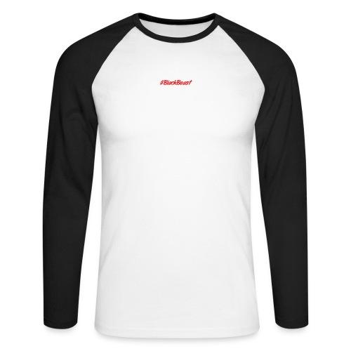 Longshirt #BlackBeast in Schwarz-Weiß - Männer Baseballshirt langarm