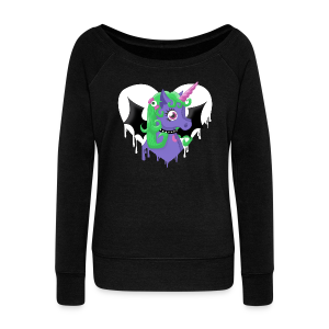 Sweat-shirt Creepy Unicorn - Pull Femme col bateau de Bella