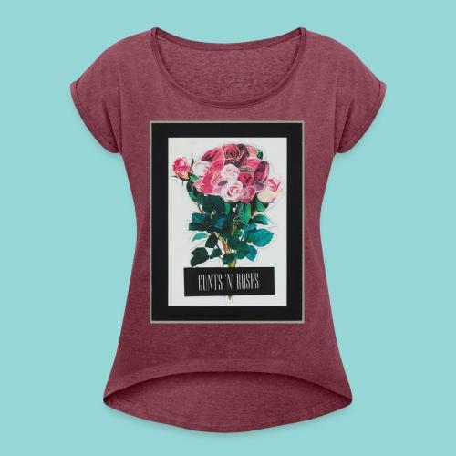 CUNTSNROSES - Frauen T-Shirt mit gerollten Ärmeln