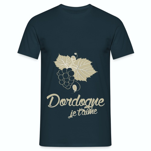 T Shirt Dordogne Je t'aime 24 bleu m homme  - T-shirt Homme