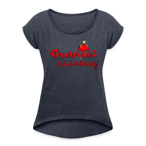 Fanatic t shirt col large femme - T-shirt à manches retroussées Femme