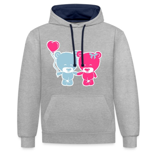 Women Contrast Colour Hoodie Cute Teddy's - Contrast Colour Hoodie