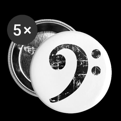 Bassschlüssel (Vintage Schwarz) Bass Anstecker - Buttons mittel 32 mm