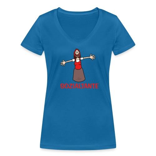 Sozialtante - T-Shirt - Frauen Bio-T-Shirt mit V-Ausschnitt von Stanley & Stella
