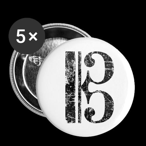 Altschlüssel, Tenorschlüssel (Vintage/Schwarz) Anstecker - Buttons klein 25 mm