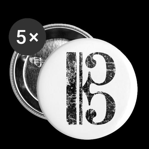 Altschlüssel, Tenorschlüssel (Vintage/Schwarz) Anstecker - Buttons groß 56 mm