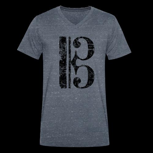 Altschlüssel, Tenorschlüssel (Vintage/Schwarz) V-Neck T-Shirt - Männer Bio-T-Shirt mit V-Ausschnitt von Stanley & Stella